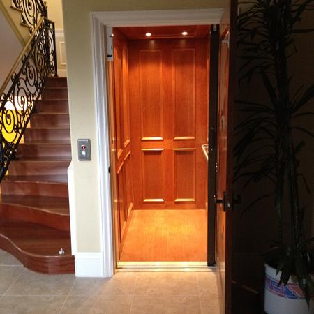 Cherry inset panles home elevator san francisco for Elevator options