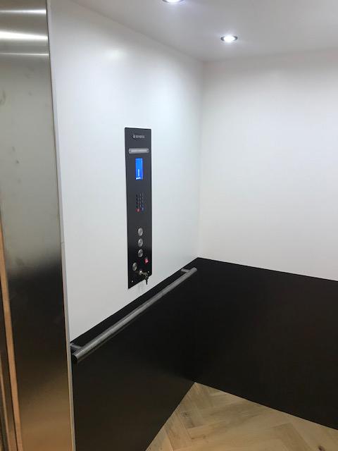 San Francisco Savaria Elevator Black & White Interior Black Panel