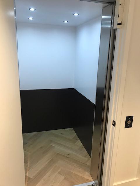 San Francisco Savaria Elevator Black & White Interior Lights On