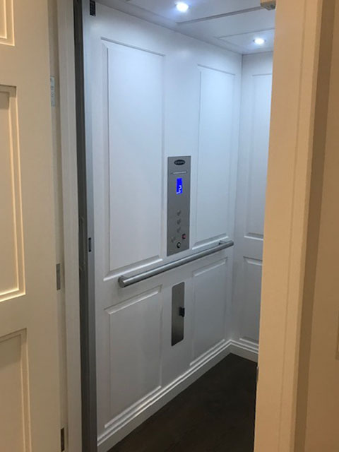 Diamond Home Elevator - San Francisco Elevator White With Dark Flooring Inside
