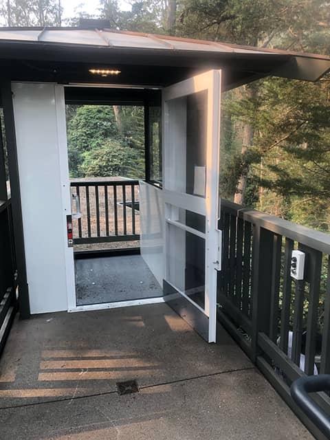 Outdoor Enclosed Wheelchair Lift - Top Door Open