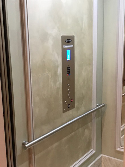 Home Elevator in San Francisco - Marble Interior Silver Panel