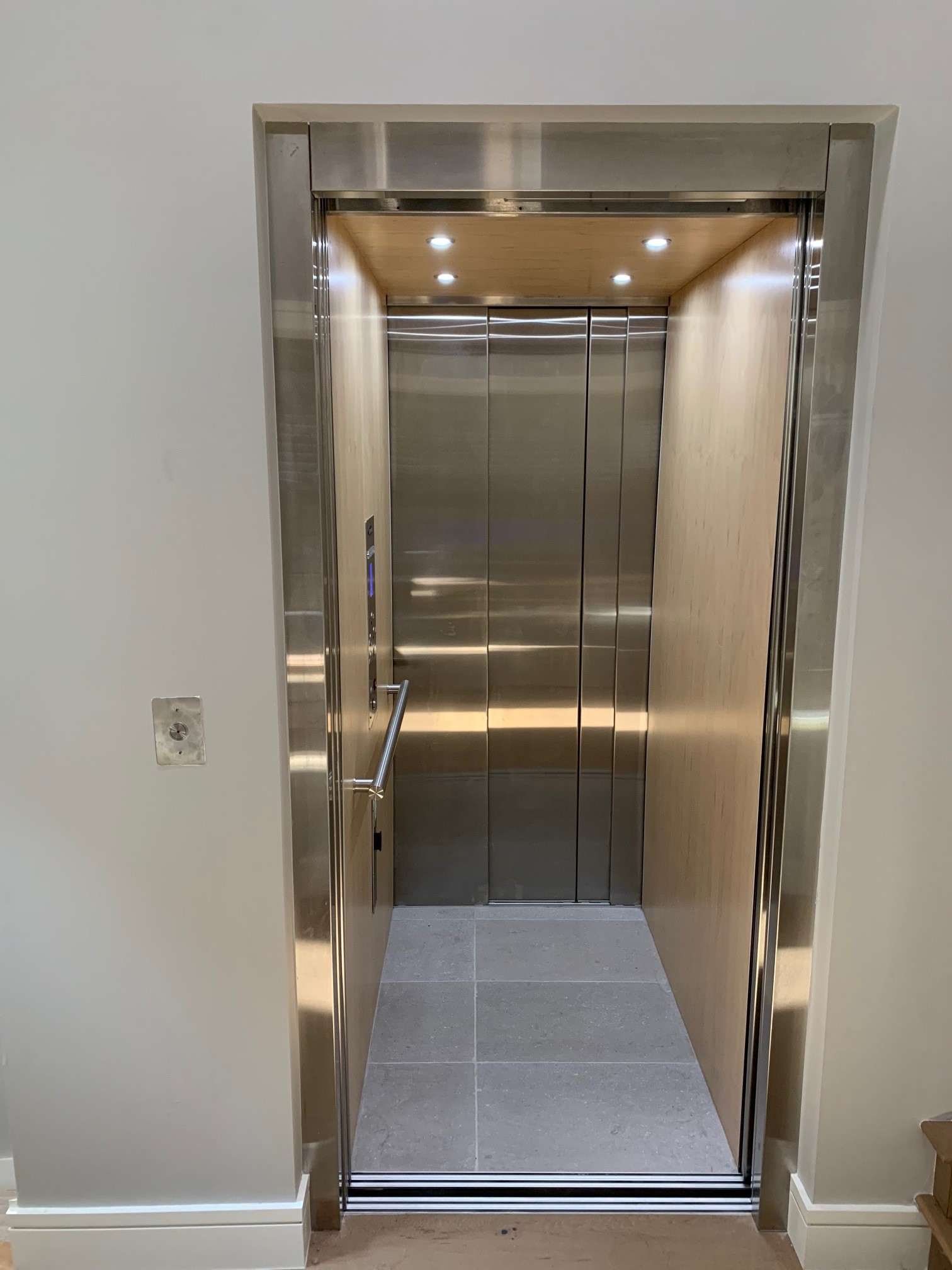 Savaria Eclipse with Stainless Steel Slim-Line Doors Open