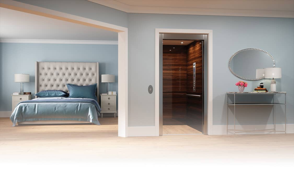Image of a home elevator in a bedroom