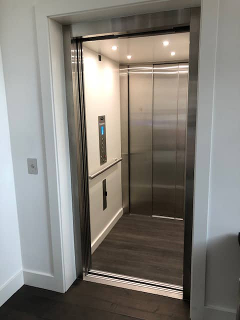 LULA Commercial Elevator - Doors Open with Stainless Steel Panel